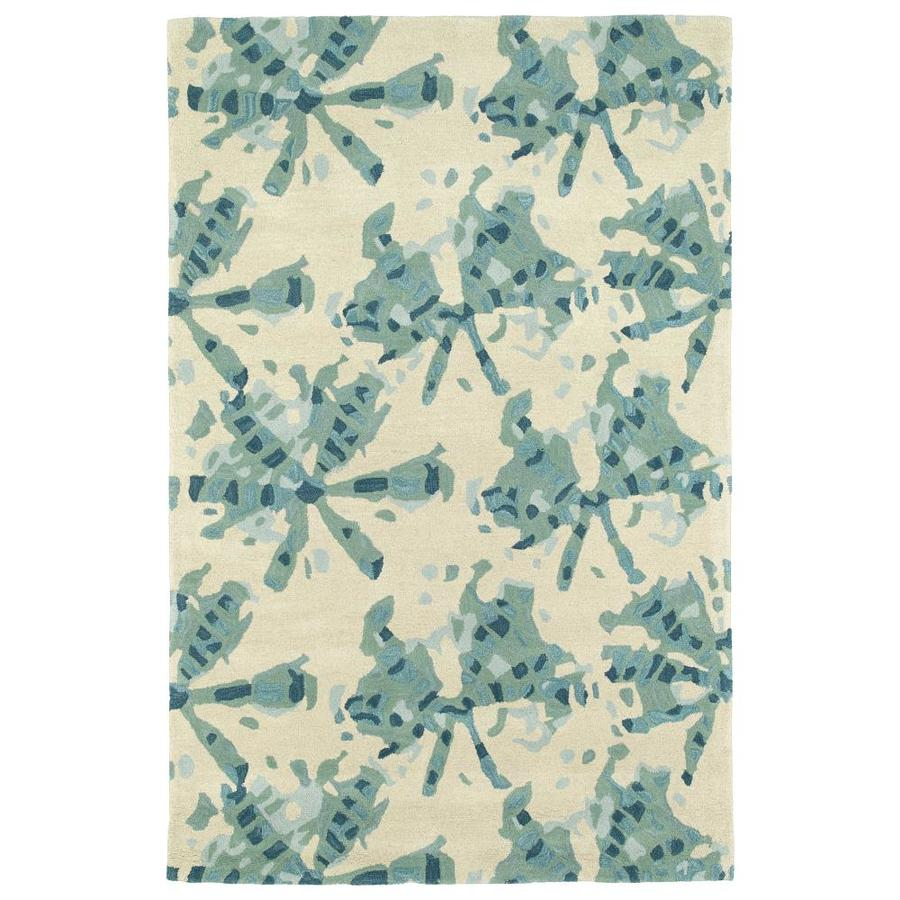 Kaleen Pastiche Turquoise Indoor Handcrafted Inspirational Throw Rug (Common: 3 x 5; Actual: 3-ft W x 5-ft L)