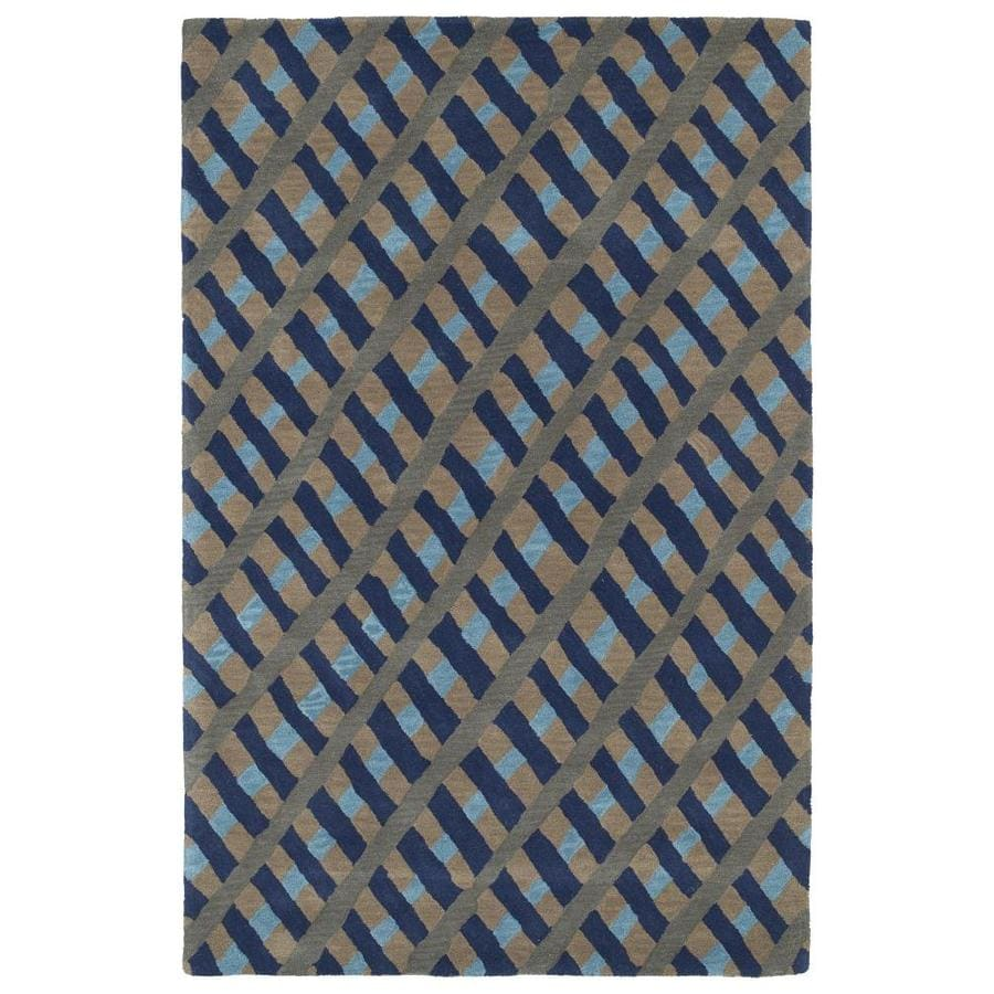 Kaleen Pastiche Blue Indoor Handcrafted Inspirational Throw Rug (Common: 3 x 5; Actual: 3-ft W x 5-ft L)