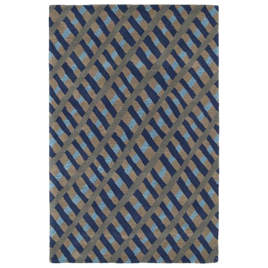 Kaleen Pastiche Blue Rectangular Indoor Handcrafted Inspirational Area Rug (Common: 5 x 8; Actual: 5-ft W x 7.75-ft L)