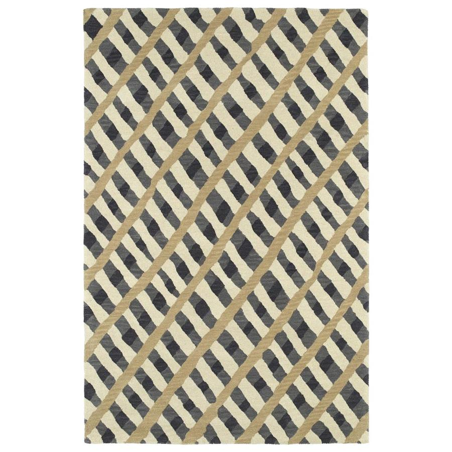 Kaleen Pastiche Grey Rectangular Indoor Handcrafted Inspirational Area Rug (Common: 8 x 10; Actual: 8-ft W x 10-ft L)