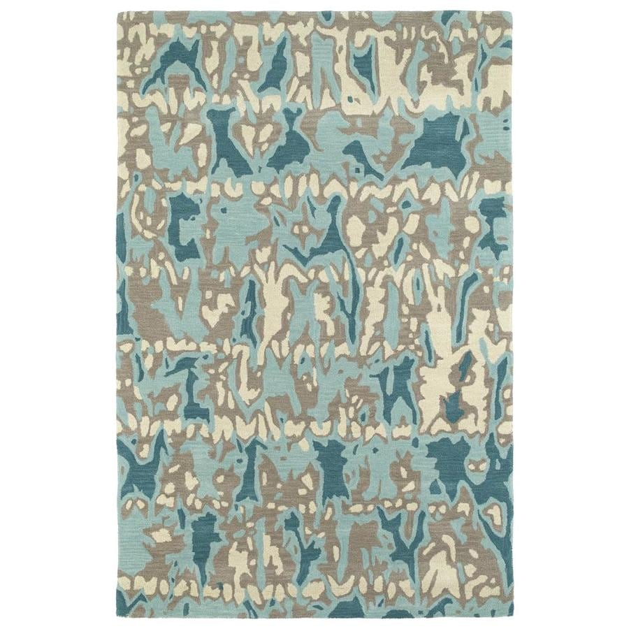 Kaleen Pastiche Robin's Egg Rectangular Indoor Handcrafted Inspirational Area Rug (Common: 9 x 12; Actual: 9-ft W x 12-ft L)