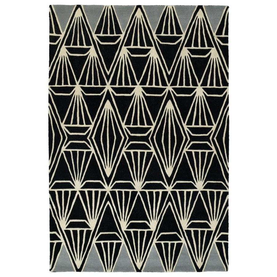 Kaleen Origami Black Rectangular Indoor Handcrafted Inspirational Runner (Common: 3 x 8; Actual: 2.5-ft W x 8-ft L)
