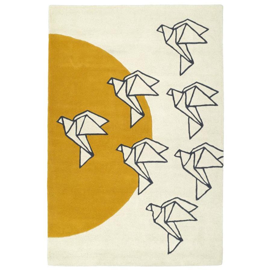 Kaleen Origami Ivory Rectangular Indoor Handcrafted Animals Runner (Common: 2 x 8; Actual: 2.5-ft W x 8-ft L)