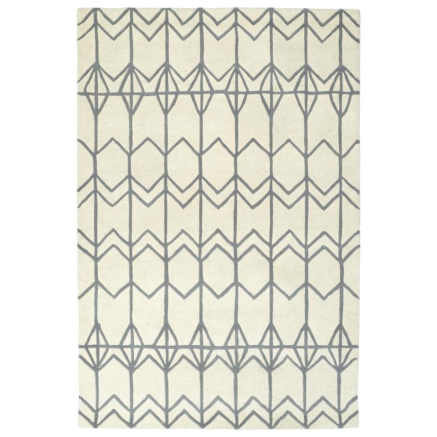 Kaleen Origami Ivory Indoor Handcrafted Inspirational Runner (Common: 2 x 8; Actual: 2.5-ft W x 8-ft L)