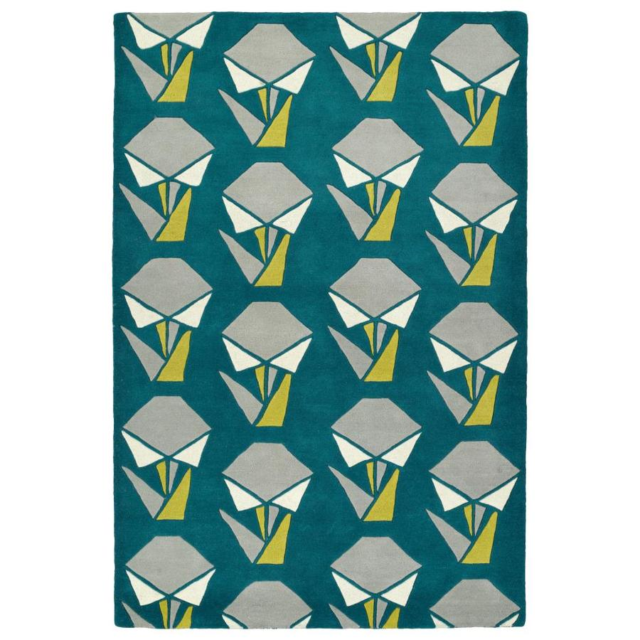Kaleen Origami Teal Rectangular Indoor Handcrafted Nature Throw Rug (Common: 2 x 3; Actual: 2-ft W x 3-ft L)
