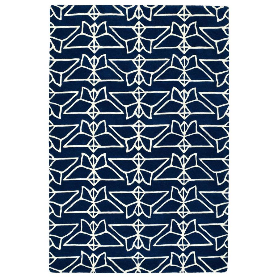Kaleen Origami Navy Indoor Handcrafted Animals Runner (Common: 3 x 8; Actual: 2.5-ft W x 8-ft L)