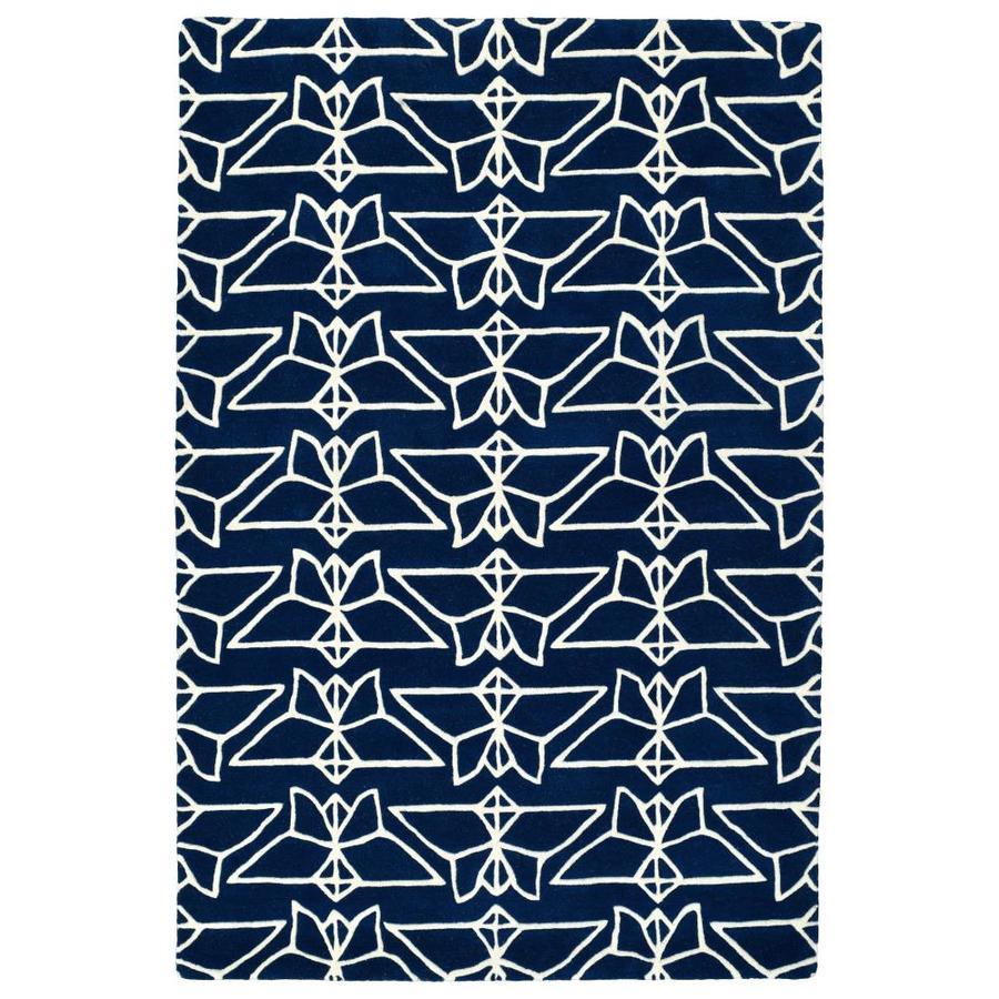 Kaleen Origami Navy Rectangular Indoor Handcrafted Animals Area Rug (Common: 5 x 8; Actual: 5-ft W x 7.5-ft L)