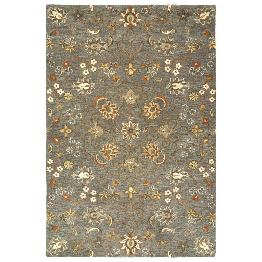 Kaleen Helena Pewter Green Indoor Handcrafted Oriental Throw Rug (Common: 2 x 3; Actual: 2-ft W x 3-ft L)