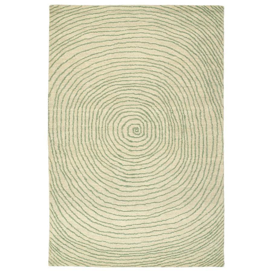 Kaleen Textura Green Rectangular Indoor Handcrafted Distressed Area Rug (Common: 4 x 6; Actual: 3.5-ft W x 5.5-ft L)
