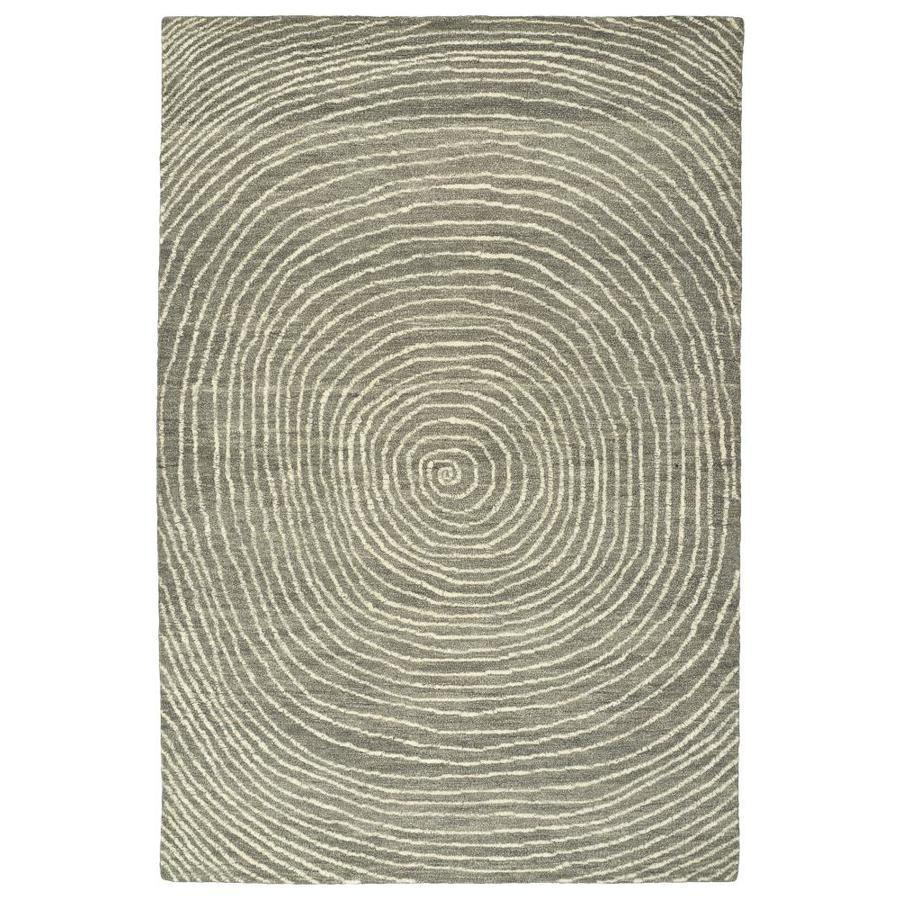 Kaleen Textura Grey Rectangular Indoor Handcrafted Distressed Area Rug (Common: 4 x 6; Actual: 3.5-ft W x 5.5-ft L)