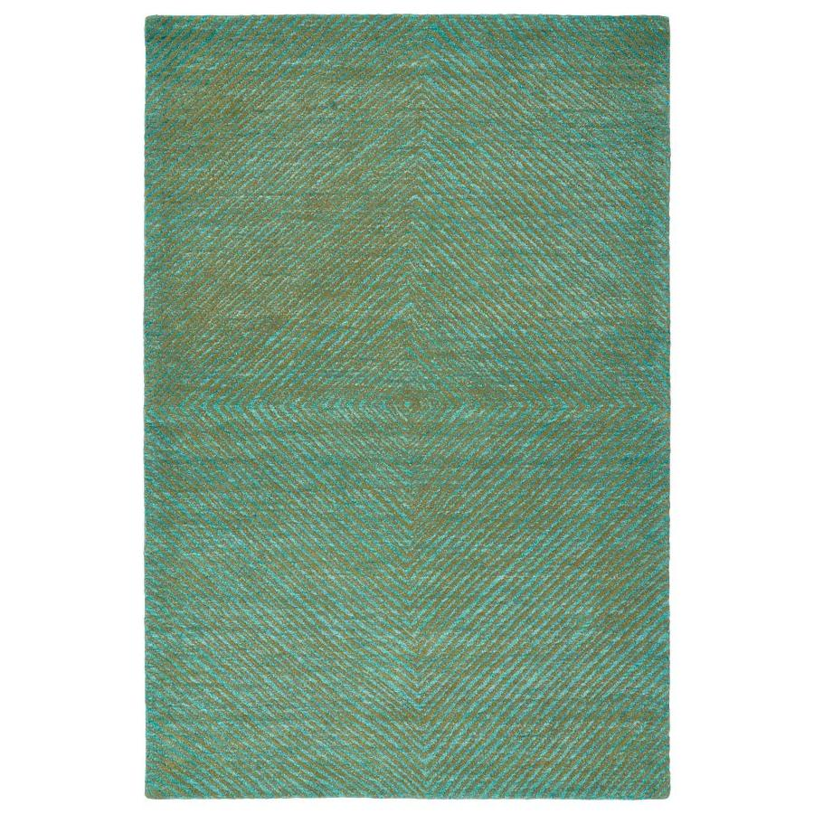 Kaleen Textura Turquoise Indoor Handcrafted Distressed Area Rug (Common: 4 x 6; Actual: 3.5-ft W x 5.5-ft L)