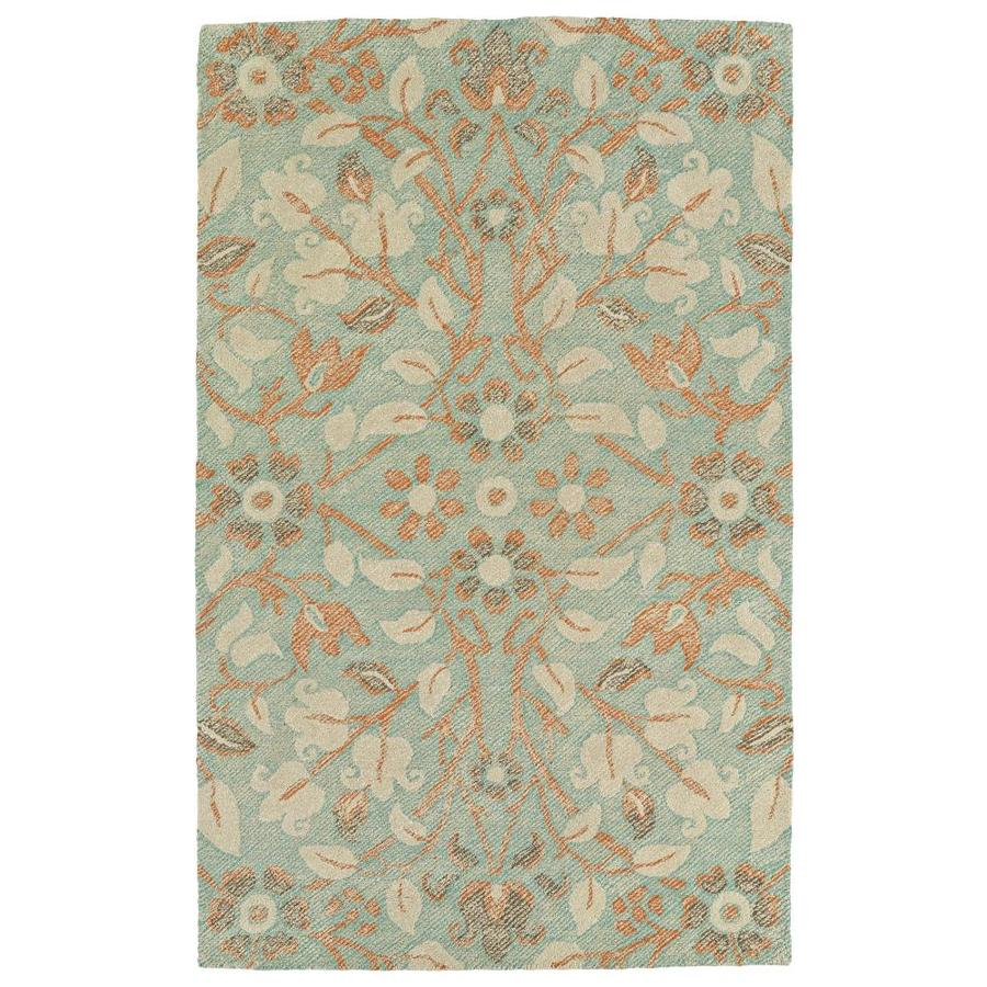 Kaleen Weathered Turquoise Rectangular Indoor/Outdoor Handcrafted Distressed Area Rug (Common: 5 x 8; Actual: 5-ft W x 7.5-ft)