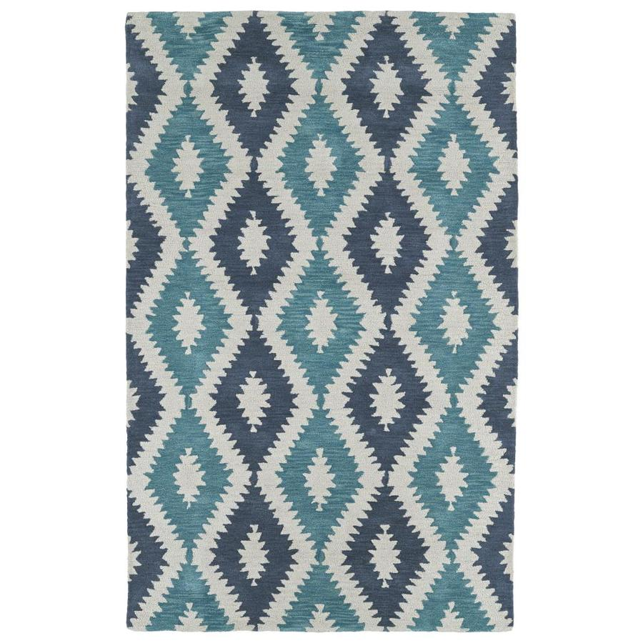 Kaleen Lakota Turquoise Rectangular Indoor Handcrafted Southwestern Runner (Common: 2 x 8; Actual: 2.25-ft W x 8-ft L)