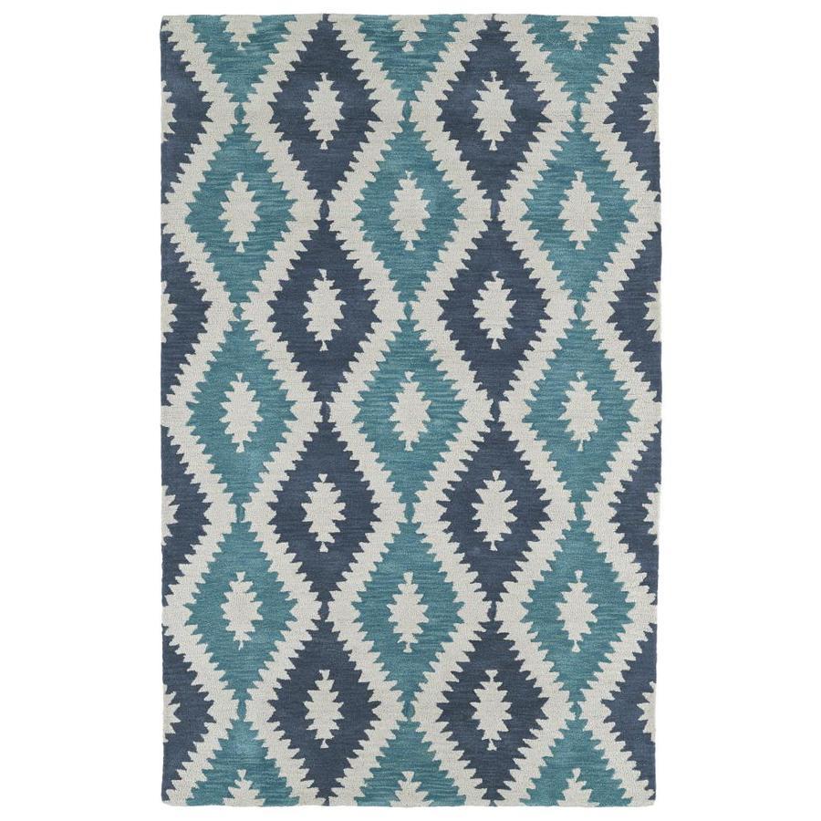 Kaleen Lakota Turquoise Rectangular Indoor Handcrafted Southwestern Area Rug (Common: 5 x 8; Actual: 5-ft W x 7.75-ft L)