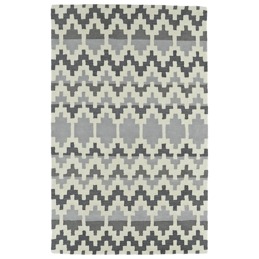 Kaleen Lakota Grey Rectangular Indoor Handcrafted Southwestern Area Rug (Common: 5 x 8; Actual: 5-ft W x 7.75-ft L)