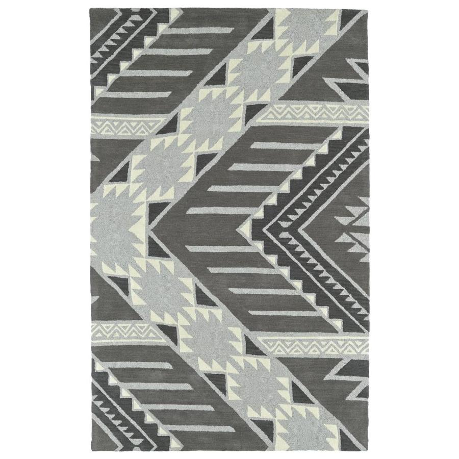Kaleen Lakota Grey Rectangular Indoor Handcrafted Southwestern Area Rug (Common: 4 x 6; Actual: 3.5-ft W x 5.5-ft L)