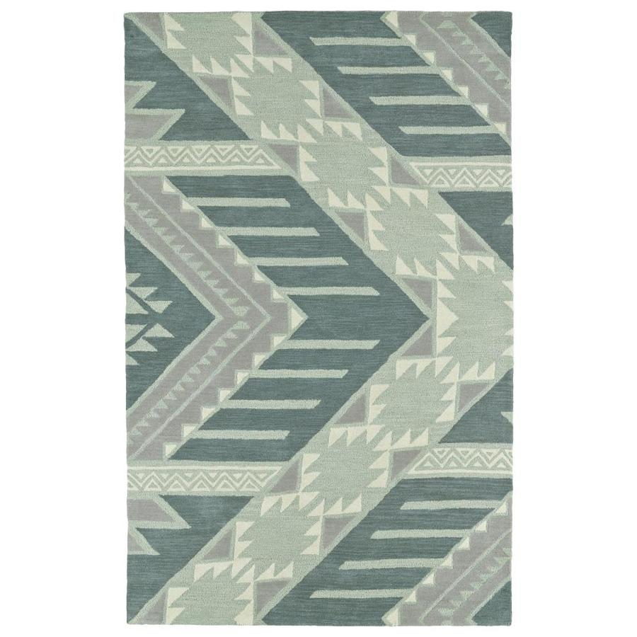 Kaleen Lakota Mint Indoor Handcrafted Southwestern Area Rug (Common: 5 x 8; Actual: 5-ft W x 7.75-ft L)