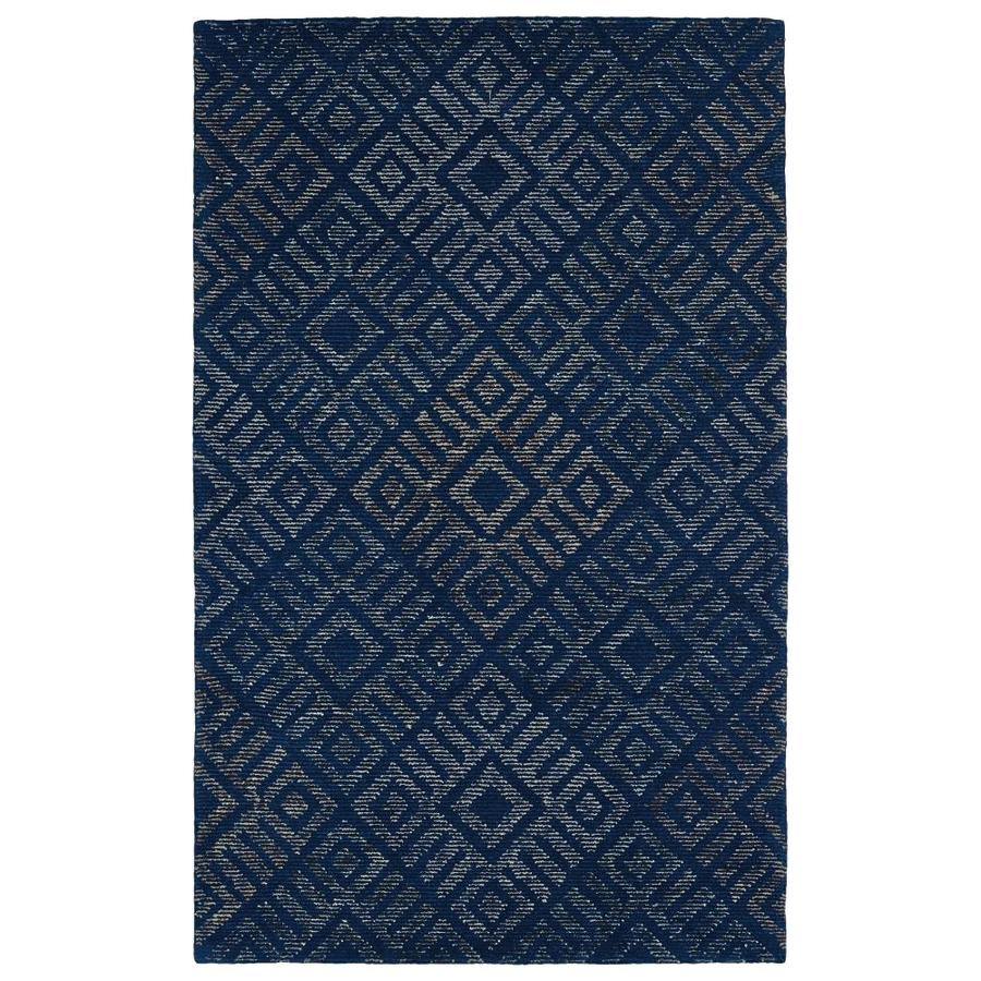 Kaleen Evanesce Blue Indoor Handcrafted Distressed Area Rug (Common: 5 x 8; Actual: 5-ft W x 7.75-ft L)