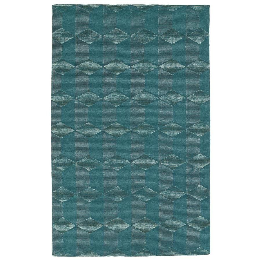 Kaleen Evanesce Teal Indoor Handcrafted Distressed Area Rug (Common: 4 x 6; Actual: 3.5-ft W x 5.5-ft L)