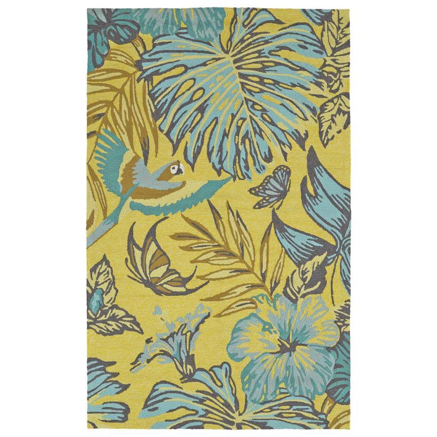 Kaleen Yunque Yellow Rectangular Indoor/Outdoor Handcrafted Coastal Area Rug (Common: 5 x 8; Actual: 5-ft W x 7.5-ft L)