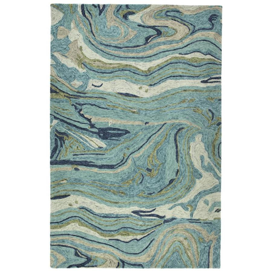 Kaleen Marble Teal Indoor Handcrafted Throw Rug (Common: 2 x 3; Actual: 2-ft W x 3-ft L)