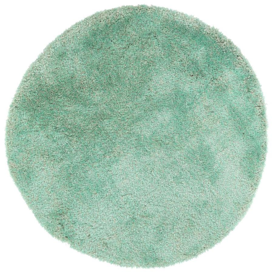 Kaleen Its So Fabulous Turquoise Round Indoor Handcrafted Area Rug (Common: 8 x 8; Actual: 8-ft W x 8-ft L x 8-ft dia)