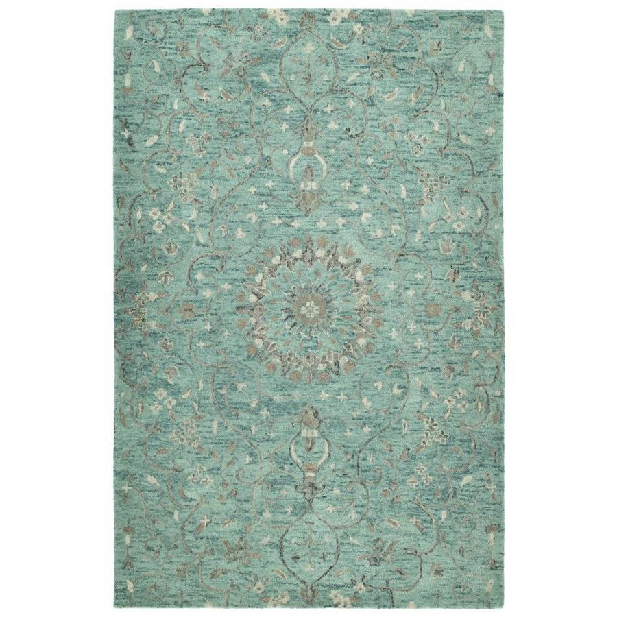 Kaleen Chancellor Turquoise Indoor Handcrafted Nature Area Rug (Common: 5 x 8; Actual: 5-ft W x 7.75-ft L)