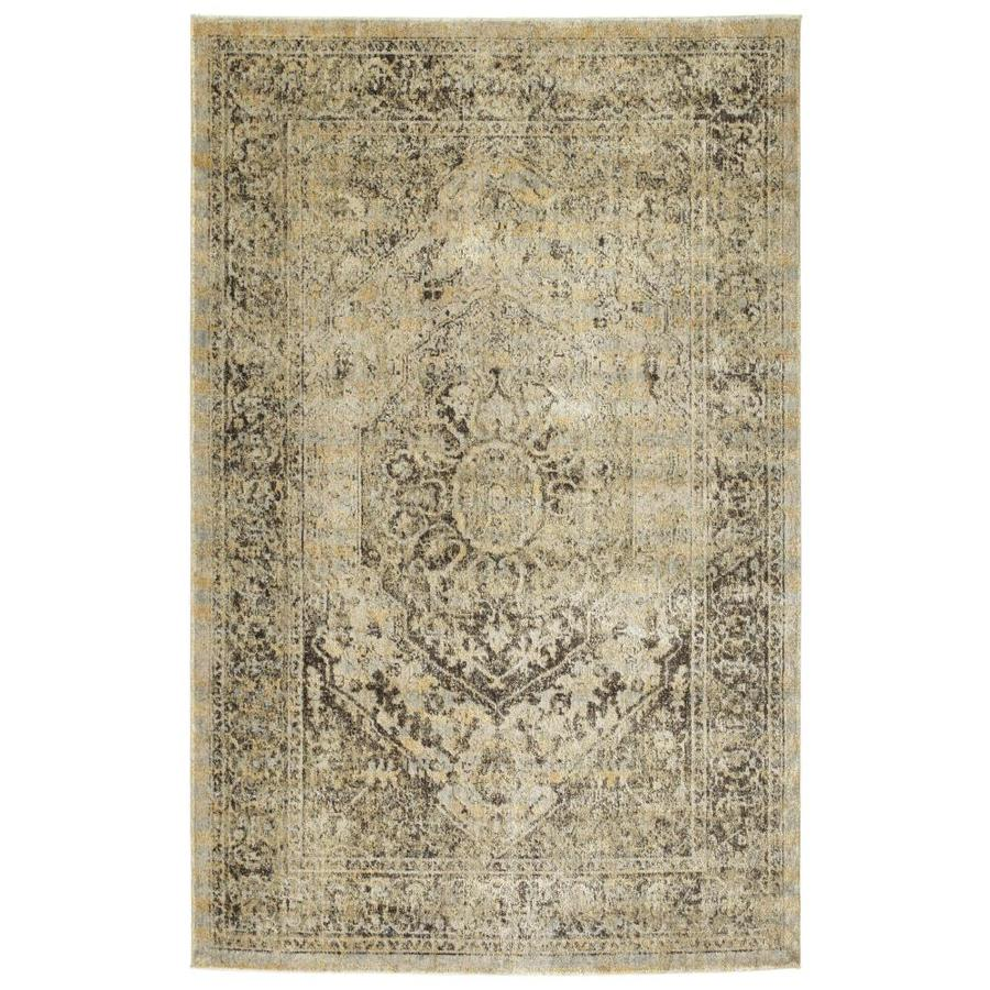 Kaleen Tiziano Gold Distressed Throw Rug (Common: 4 x 5; Actual: 3.92-ft W x 5.25-ft L)