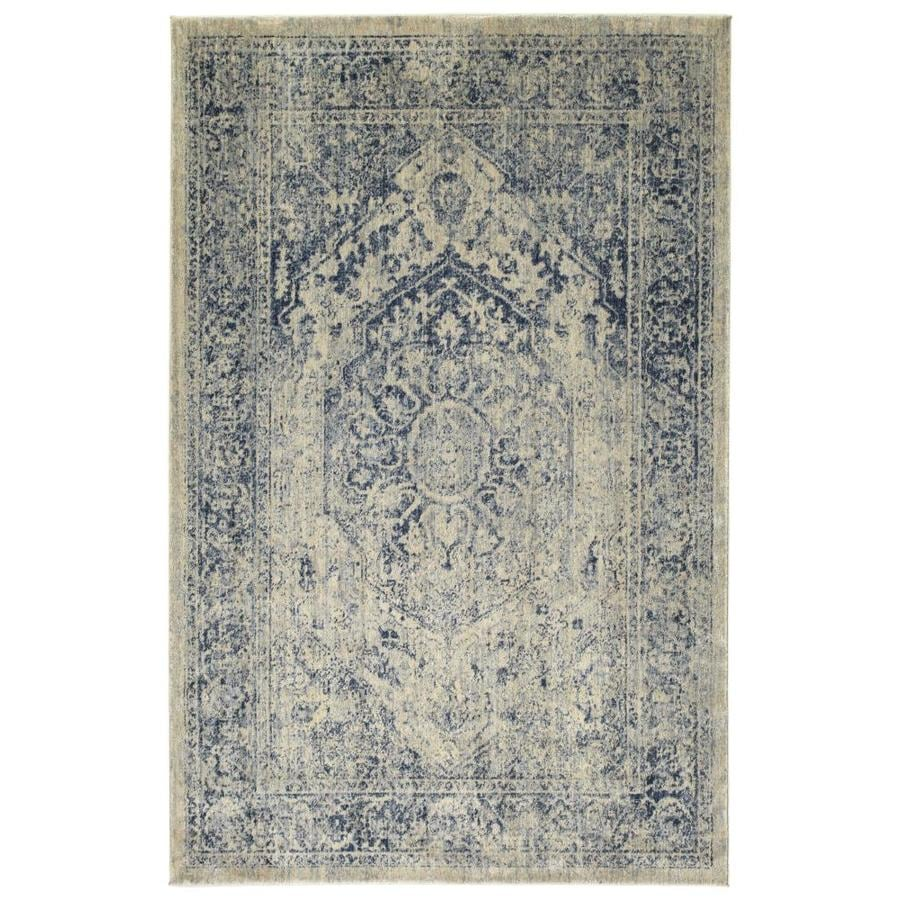 Kaleen Tiziano Ice Distressed Throw Rug (Common: 4 x 5; Actual: 3.92-ft W x 5.25-ft L)