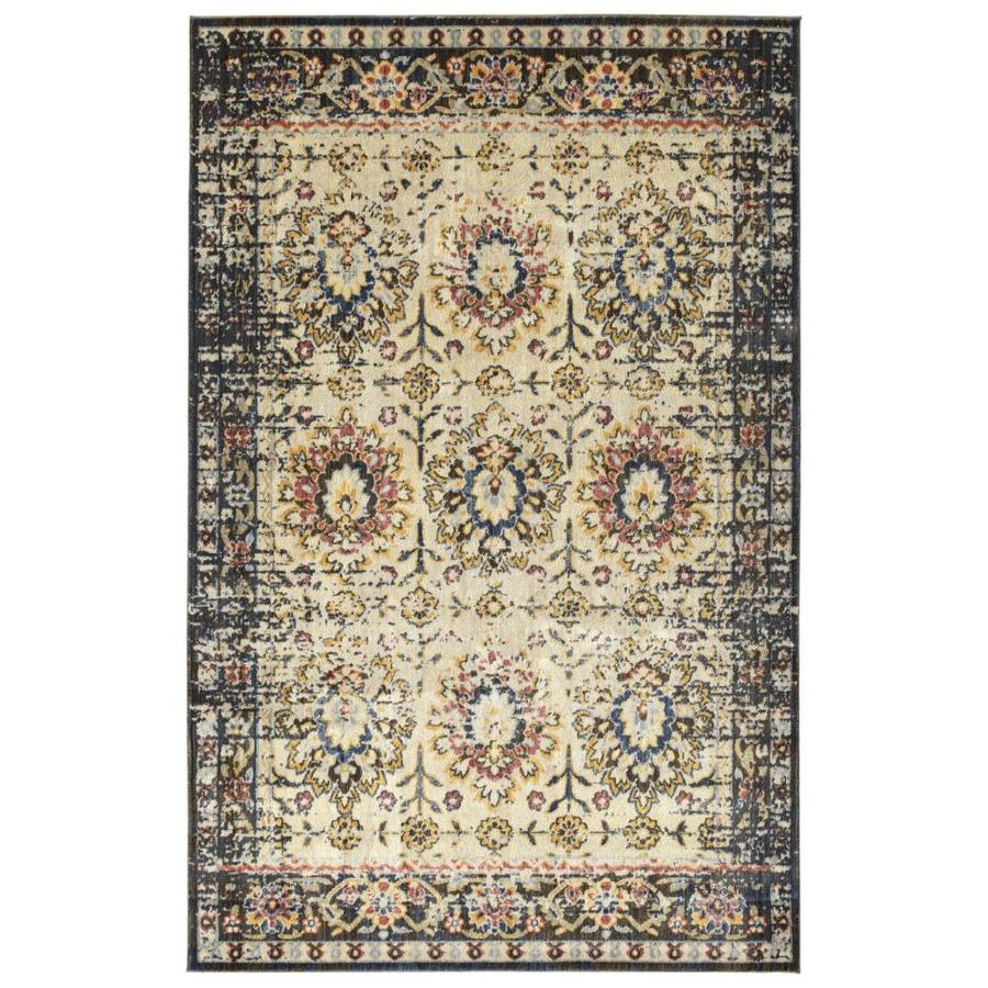 Kaleen Tiziano Ivory Distressed Area Rug (Common: 5 x 7; Actual: 5.25-ft W x 7.25-ft L)