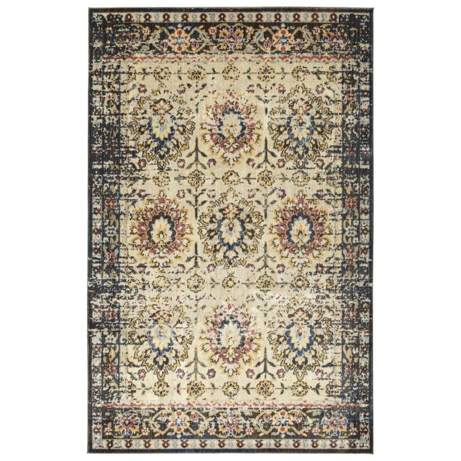 Kaleen Tiziano Ivory Distressed Area Rug (Common: 9 x 13; Actual: 9.16-ft W x 12.5-ft L)