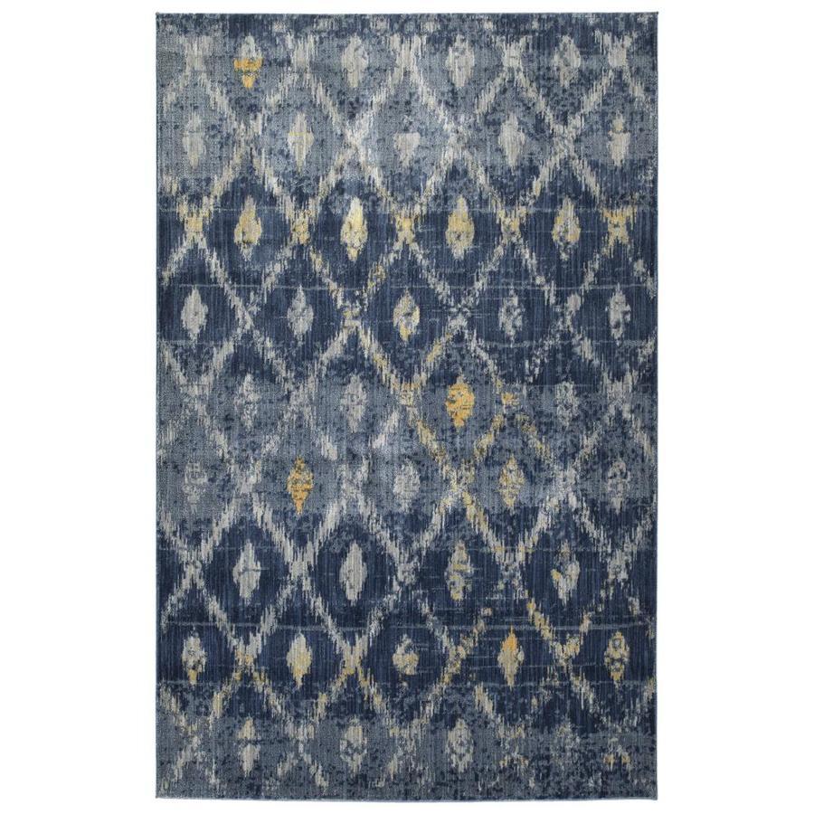 Kaleen Tiziano Denim Distressed Throw Rug (Common: 4 x 5; Actual: 3.92-ft W x 5.25-ft L)