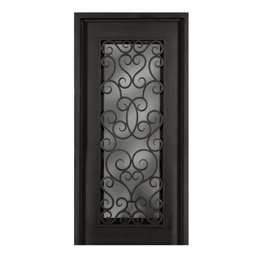 Escon 1-Panel Insulating Core Full Lite Left-Hand Inswing Bronze Iron Painted Prehung Entry Door (Common: 39-in x 81-in; Actual: 39-in x 81-in)
