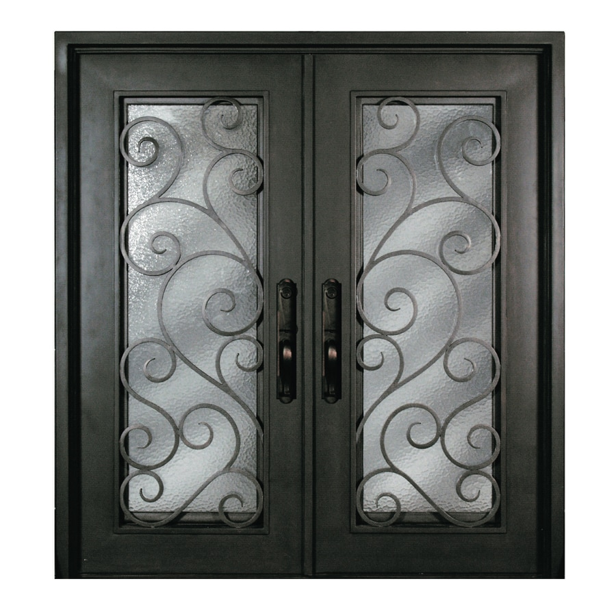 Escon Right-Hand Inswing Bronze Painted Iron Double Entry Door with Insulating Core (Common: 72-in x 80-in; Actual: 73.5-in x 81-in)