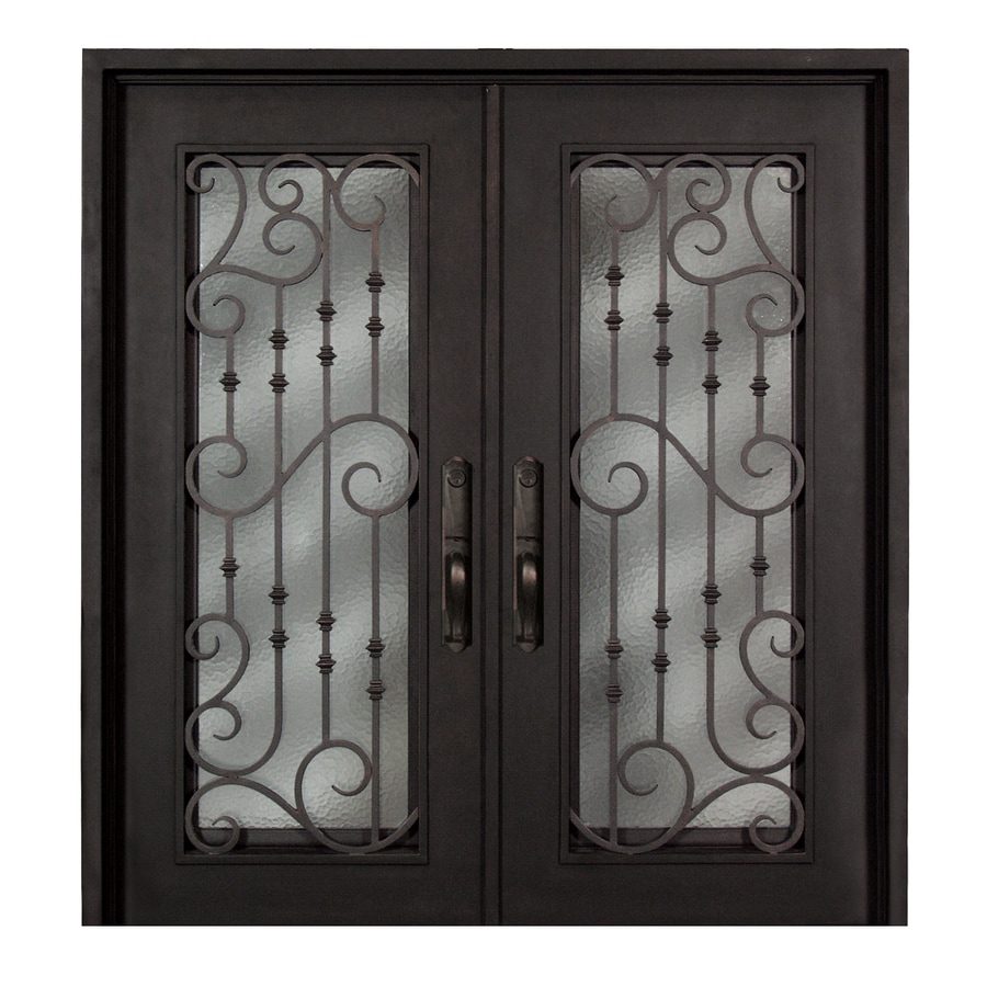 Escon 1-Panel Insulating Core Full Lite Right-Hand Inswing Bronze Iron Painted Prehung Entry Door (Common: 74-in x 81-in; Actual: 73.5-in x 81-in)