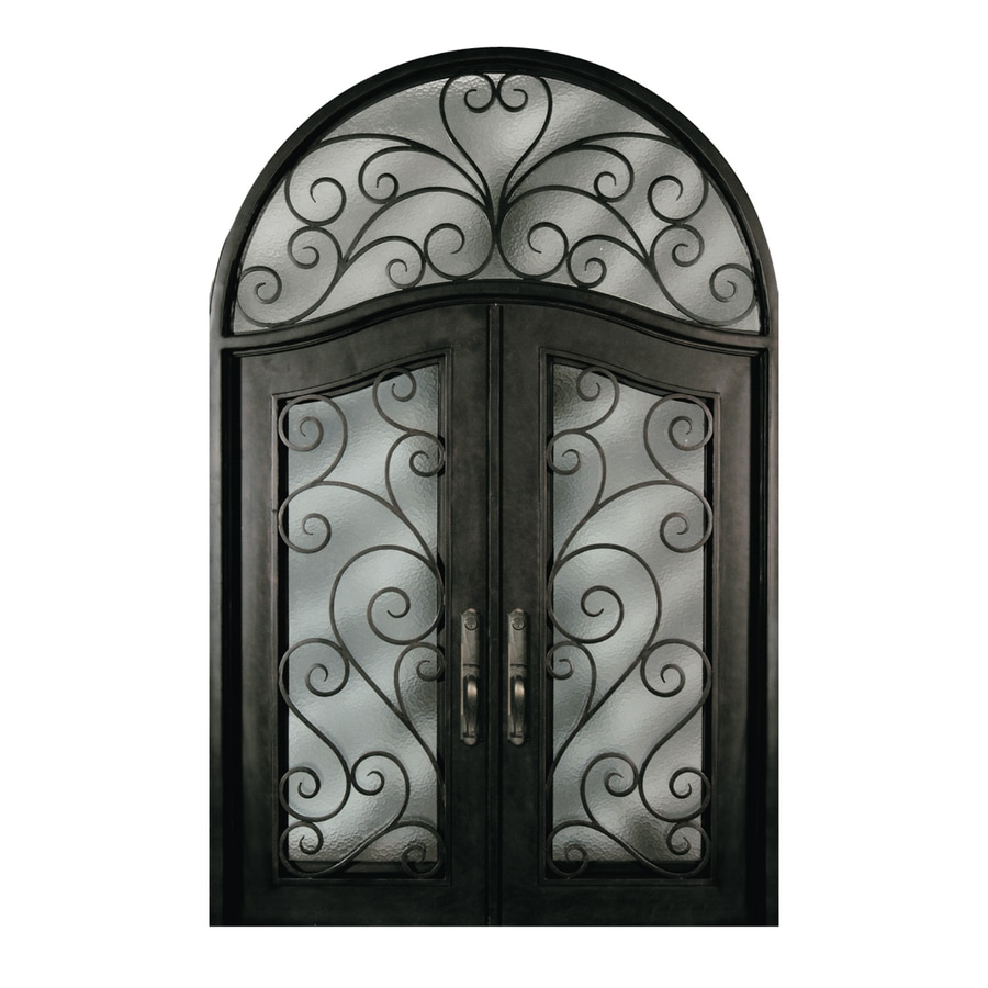 Escon Left-Hand Inswing Bronze Painted Iron Double Entry Door with Insulating Core (Common: 72-in x 96-in; Actual: 76-in x 120-in)