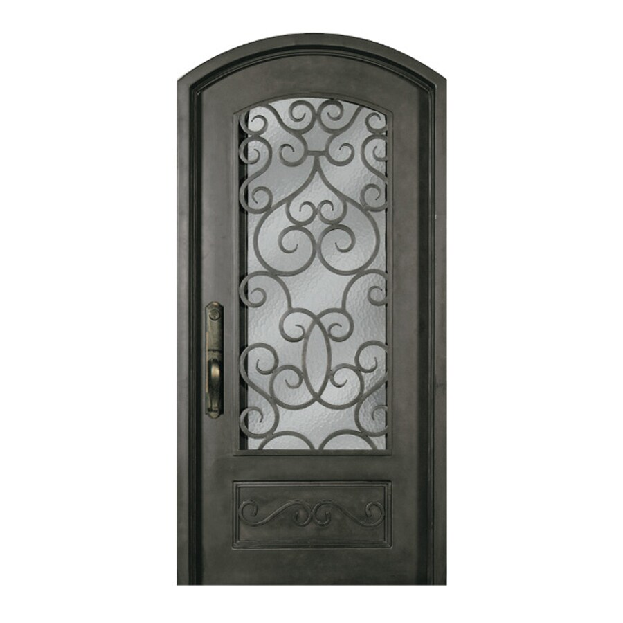 Escon 1-Panel Insulating Core 3/4 Lite Left-Hand Inswing Bronze Iron Painted Prehung Entry Door (Common: 40-in x 84-in; Actual: 40-in x 84-in)