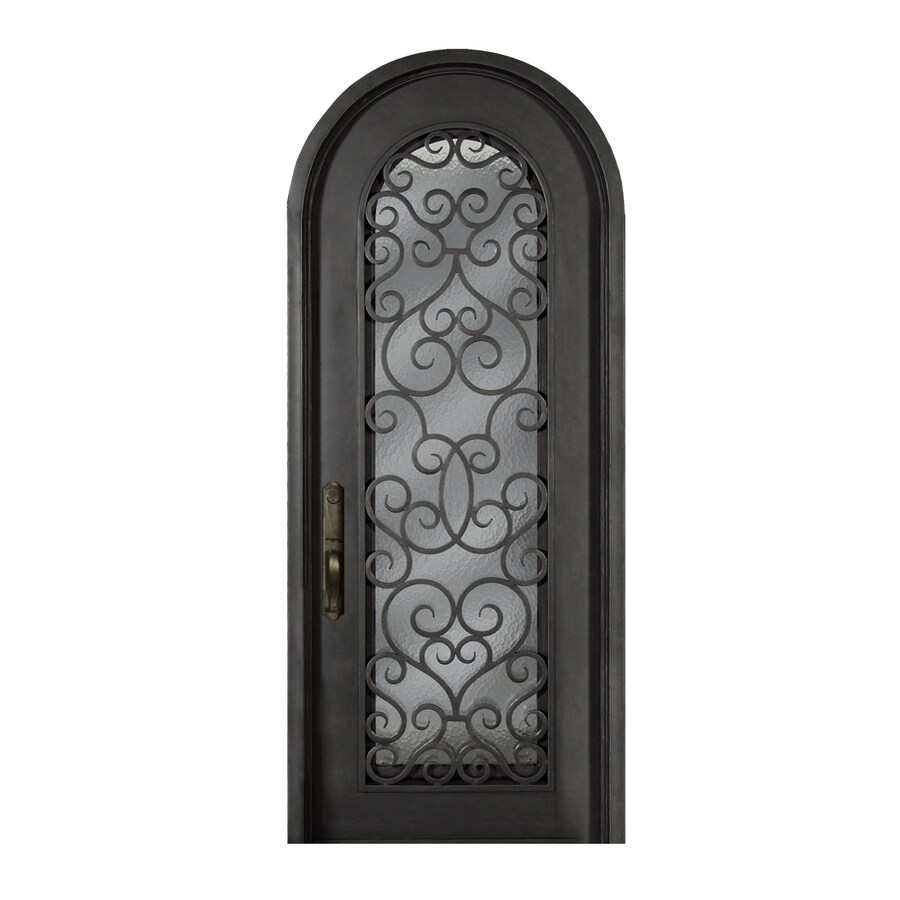 Escon 1-Panel Insulating Core Full Lite Left-Hand Inswing Bronze Iron Painted Prehung Entry Door (Common: 39-in x 96-in; Actual: 39-in x 96-in)