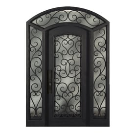 Shop entry doors at lowes escon bronze painted iron prehung entry door with sidelights and insulating core common 72 eventshaper