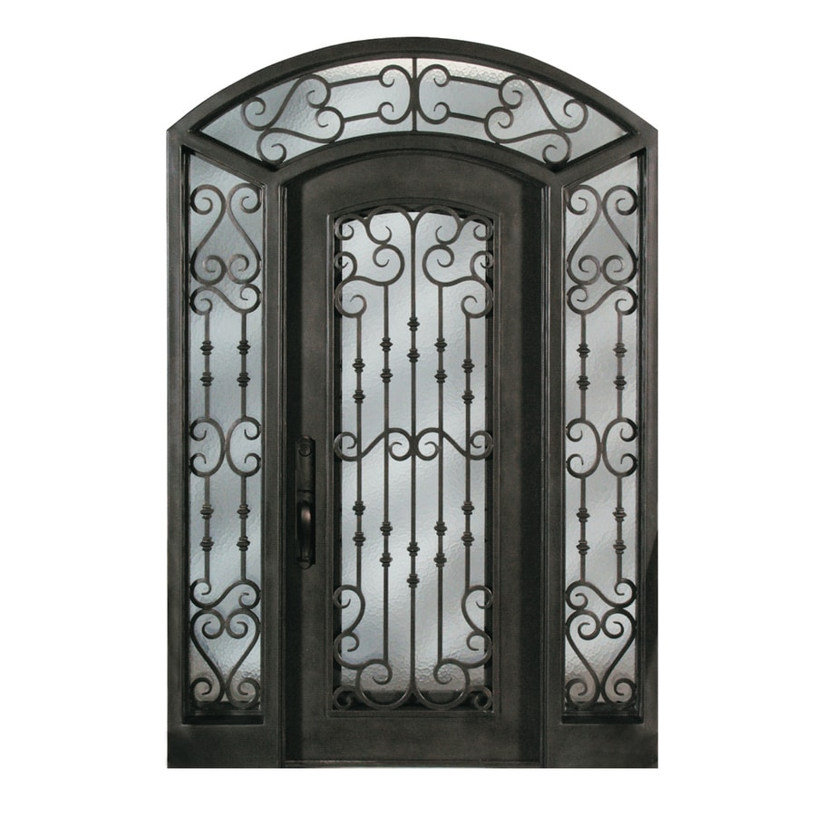 Escon Right Hand Inswing Bronze Painted Iron Prehung Entry Door With  Sidelights And Insulating Core