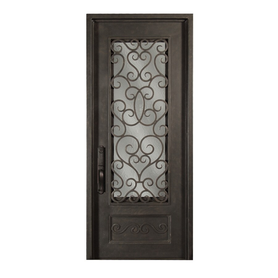 Escon Right-Hand Inswing Bronze Painted Iron Entry Door with Insulating Core (Common: 36-in x 96-in; Actual: 39-in x 96-in)