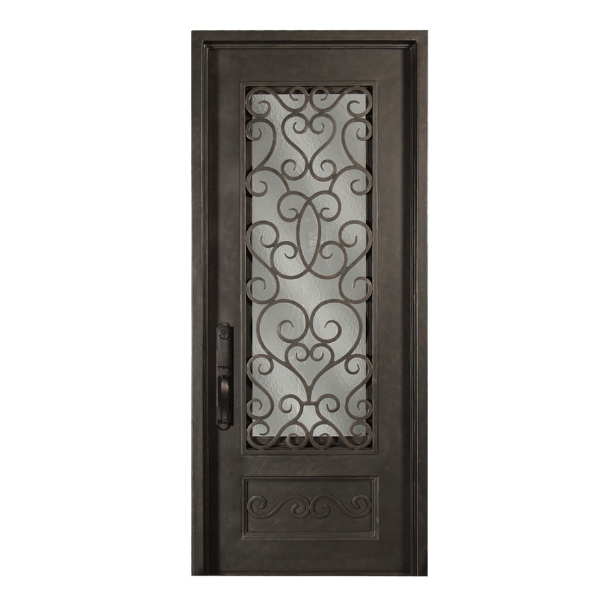 Escon 1-Panel Insulating Core 3/4 Lite Left-Hand Inswing Bronze Iron Painted Prehung Entry Door (Common: 39-in x 96-in; Actual: 39-in x 96-in)