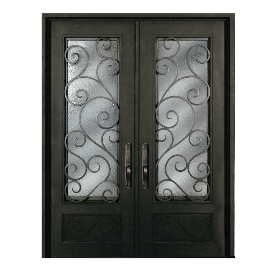 Escon Left-Hand Inswing Bronze Painted Iron Double Entry Door with Insulating Core (Common: 72-in x 96-in; Actual: 73.5-in x 96-in)