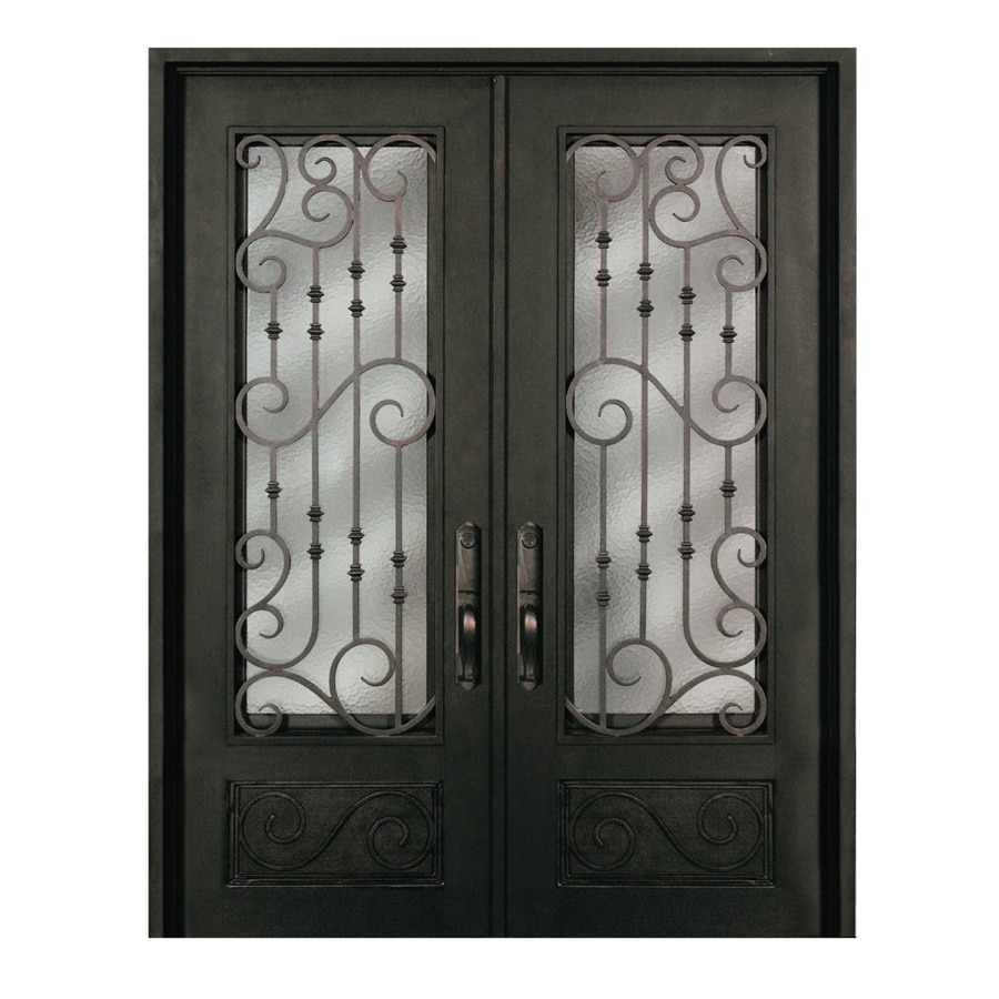 Escon 1-Panel Insulating Core 3/4 Lite Right-Hand Inswing Bronze Iron Painted Prehung Entry Door (Common: 74-in x 96-in; Actual: 73.5-in x 96-in)