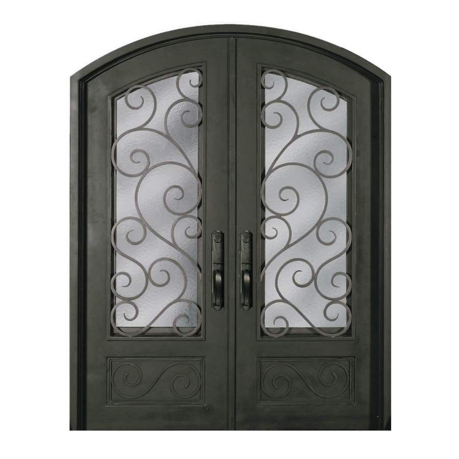Escon Left-Hand Inswing Bronze Painted Iron Double Entry Door with Insulating Core (Common: 64-in x 96-in; Actual: 64-in x 96-in)