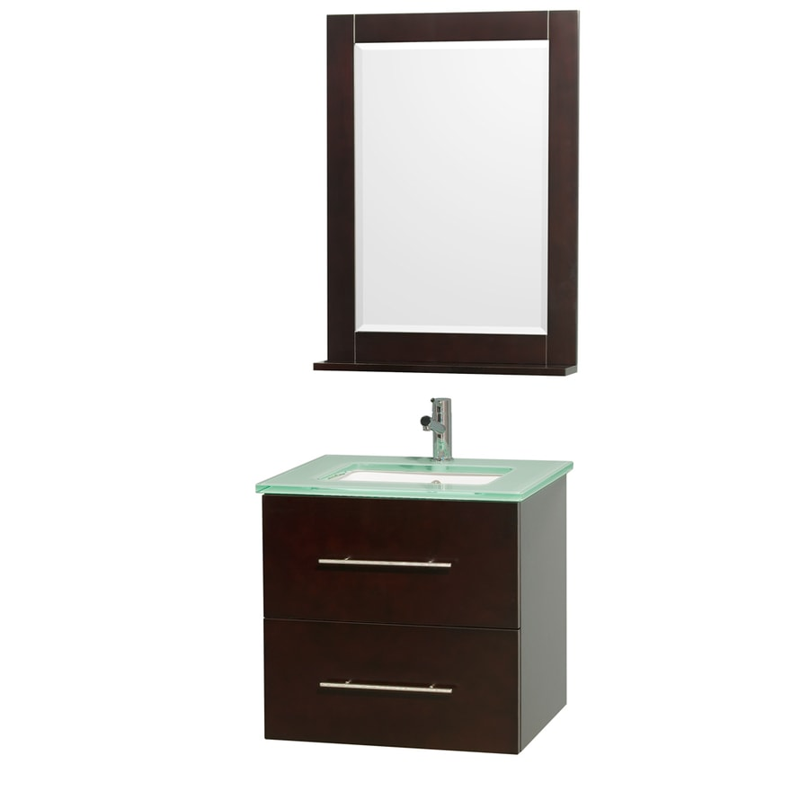 Wyndham Collection Centra Espresso Undermount Single Sink Bathroom Vanity with Tempered Glass and Glass Top (Common: 24-in x 20-in; Actual: 24-in x 19.5-in)