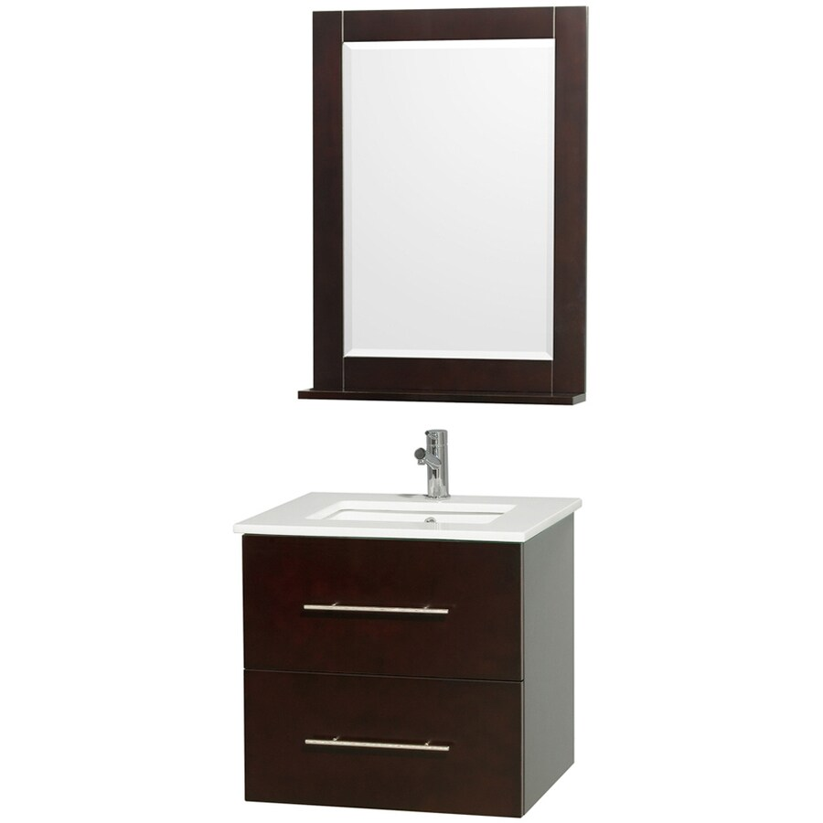 Wyndham Collection Centra Espresso Undermount Single Sink Bathroom Vanity with Engineered Stone Top (Common: 24-in x 20-in; Actual: 24-in x 19.5-in)