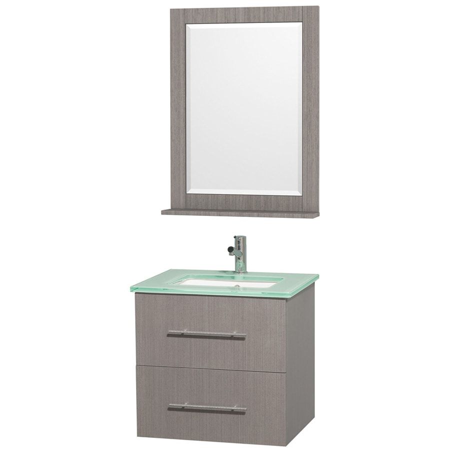 Wyndham Collection Centra Gray Oak Undermount Single Sink Bathroom Vanity with Tempered Glass and Glass Top (Common: 24-in x 20-in; Actual: 24-in x 19.5-in)