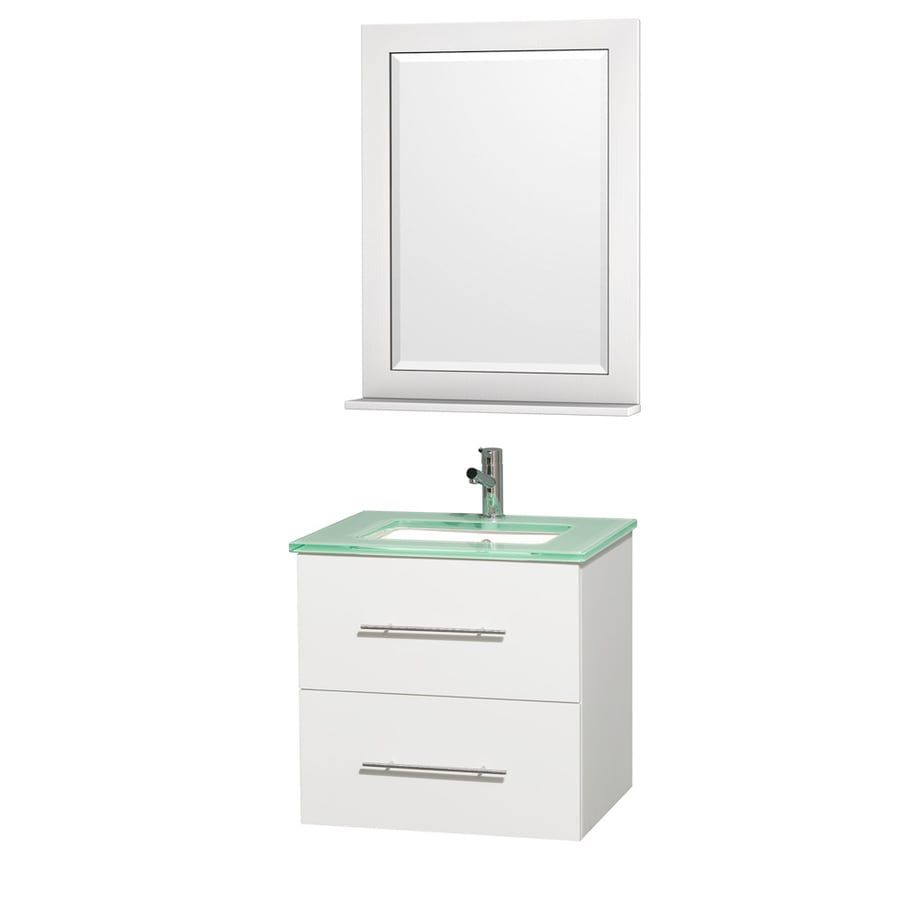 Wyndham Collection Centra Matte White Undermount Single Sink Bathroom Vanity with Tempered Glass and Glass Top (Common: 24-in x 20-in; Actual: 24-in x 19.5-in)