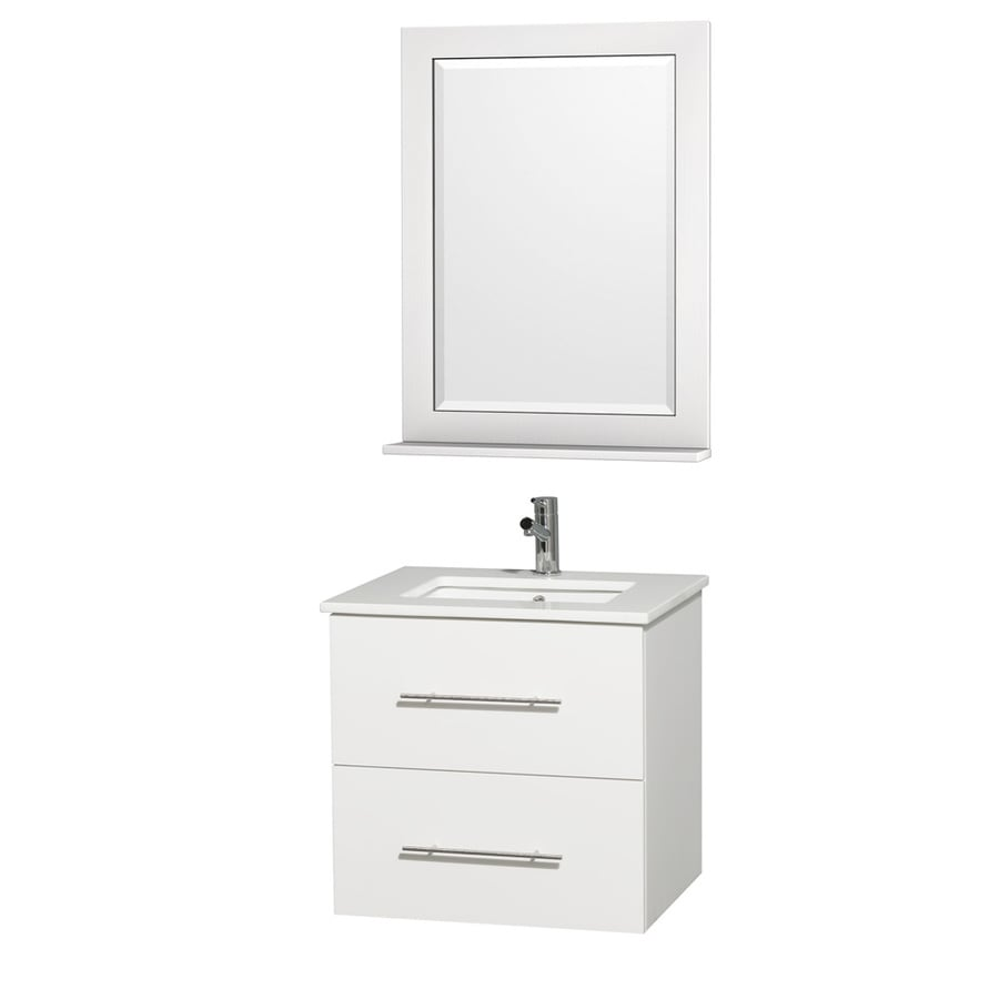 Wyndham Collection Centra Matte White Undermount Single Sink Bathroom Vanity with Engineered Stone Top (Common: 24-in x 20-in; Actual: 24-in x 19.5-in)